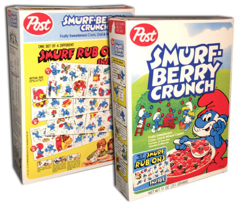 Post SMURF BERRY CRUNCH Cereal Box  (BOX ONLY!)