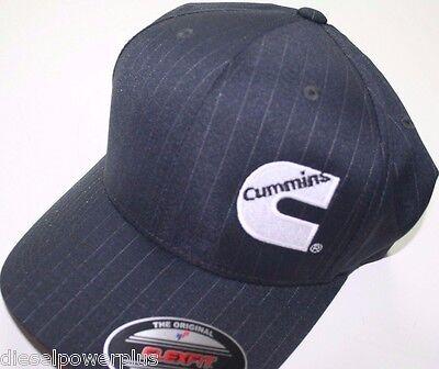 Cummins hat ball cap fitted striped flexfit stretch cummings gray black  sm med 42648908074a