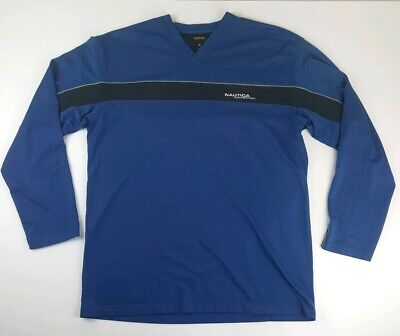 Nautica Competition Mens XL Blue Long Sleeve Spellout Logo Graphic T Shirt  V