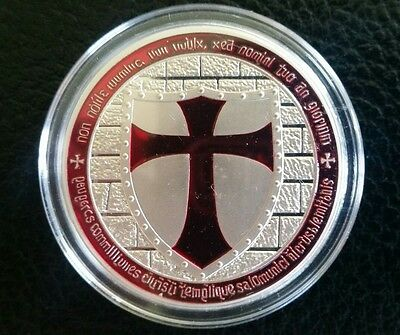 - 1 troy oz 100 Millls of .999 fine Silver Round Masonic Knight Templar Red Cross