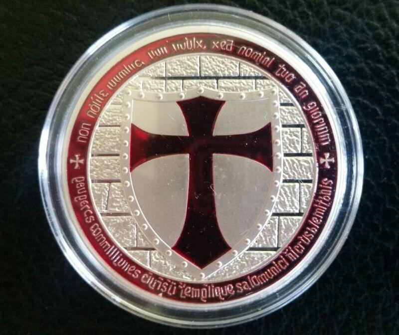 1 troy oz 100 Millls of .999 fine Silver Round Masonic Knight Templar Red Cross