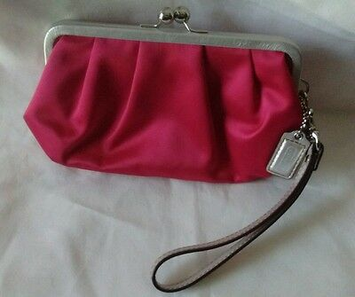 COACH Sateen Silk Magenta Pink/Silver Trim Elegant Evening Clutch/Wristlet