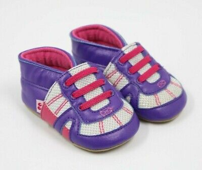 Stride Rite Baby Girl Purple Silver Slip-On Casual Shoes Size 3-6 Months