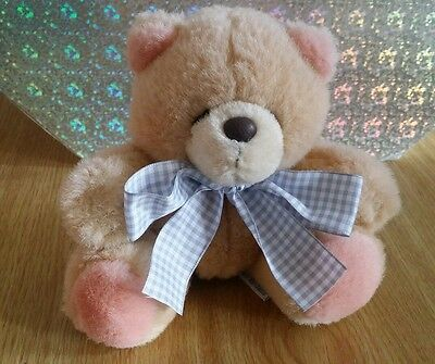 Forever Friends Vintage Sitting Plush Bear with Grey Gingham Bow - Item No.3103