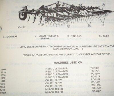John Deere Harrow Attachment Parts Catalog Used On 1010 1050 1610 Chsl Plowcult