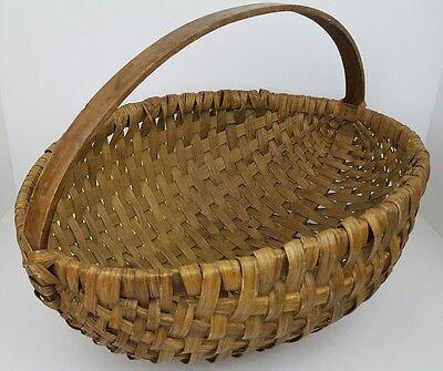Vintage Primitive Woven Wood Splint Large Round Oval Melon Shaped Wicker Basket
