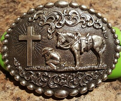 Nearly New Nocona 37374 Mens Cowboy Prayer Silver Western Belt Buckle