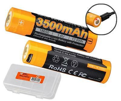 Pda Battery (Fenix ARB-L18-3500U USB Rechargeable 3500mAh 18650 Batteries X2 & Batt Organizer )