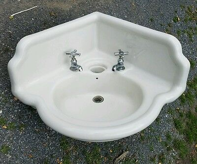 "Vntg Acme No 2 ""The John Douglas Co."" Victorian 100+ yr porcelain corner sink!"