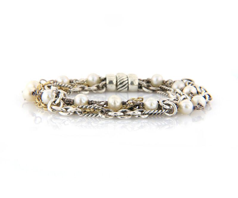 David Yurman Multi Strand Six Row Pearl Bracelet in 18K & Sterling