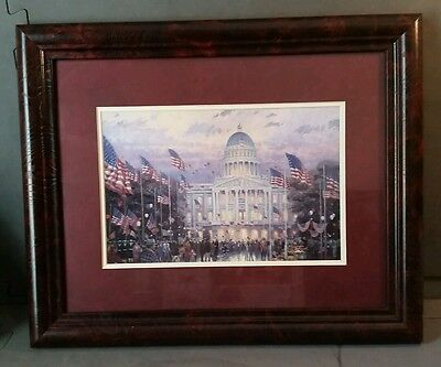 Thomas Kinkade Flags Over The Capital Matted Collectors Print W  Coa 7X8