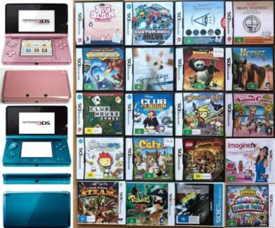 Blue and Pink Nintendo 3DS, 20 Games, Charges, Covers