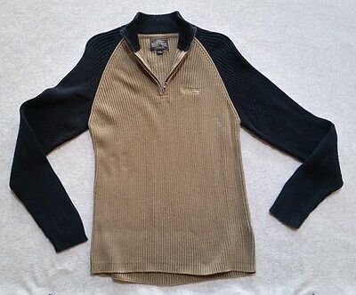Nautica Jeans Company Black/Tan Long Sleeve Ribbed Warm Sweater Mens Size Large