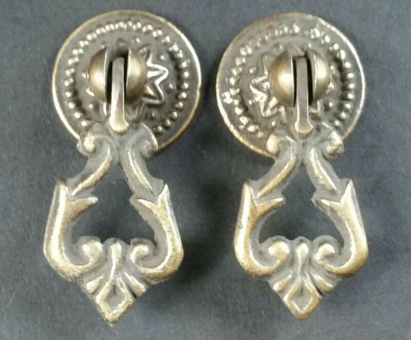 "2 small Teardrop Handles Pulls Ornate Victorian Antique Style 2"" # H8"