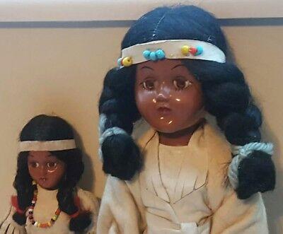 LOT Vintage Native American Indian Dolls Leather Dress Beads Fringe Sleep Eyes