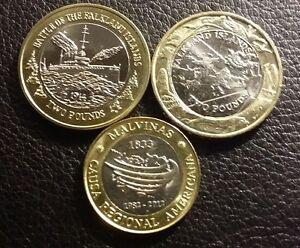 FALKLAND ISLANDS 2004+2014 HMS Glasgow £2 UNC + 30th Anniversary $2 Arg COINS