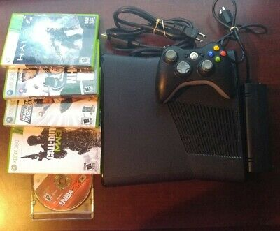 Microsoft Xbox 360 with 4GB Black Console bundle + 6 games +controller SEE VIDEO