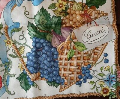 """Vintage gucci V. Accornero hand rolled silk fruit and floral scarf 34""""x34"""""""
