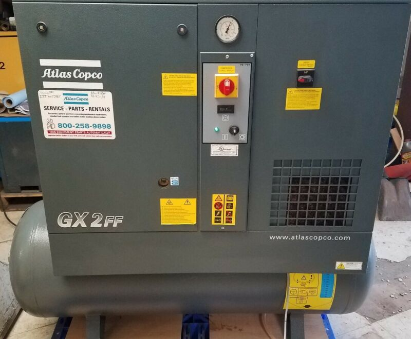 2018 Atlas Copco GX2FF 3hp Rotary Screw Air Compressor with Dryer - 113 Hours