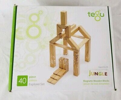 NEW 40 Piece Tegu Explorer Magnetic Wooden Building Block Set Jungle Toy Wood ()