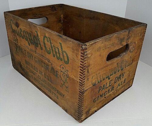 Vtg Clicquot Club Pale Ginger Ale Eskimo Boy Wooden Crate Carrier Millis, MA #2