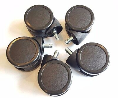 New 3 Inch Twin Wheel Office Chair Caster Wheels - High Quality - Full Set Of 5