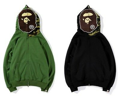 Bape A Bathing Ape Monkey Head Men Casual Long Sleeve Hoodie Sweatshirt Jacket