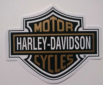 HARLEY-DAVIDSON STICKER DECAL IN GOLD AND BLACK 13 CM BY 10 CM