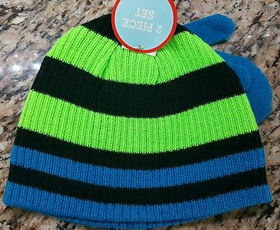Mitten Set Toddler Hat (Winter Hat Mitten Set Toddler Boy's Neon Green Blue Striped WonderKids OSFM-)