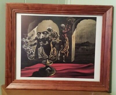 "DISAPPEARING BUST OF VOLTAIRE SALVADOR DALI FRAMED PRINT 13.5"" X16.5"" SURREALISM"