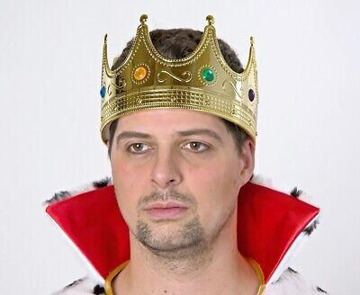 Goldene Königskrone für Erwachsene NEU - Karneval Fasching Hut Mütze Kopfbedecku
