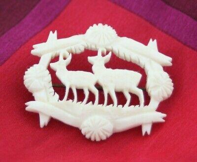 C Themed Dress Up (Victorian Deer Themed Carved Bovine Bone Brooch Old C)