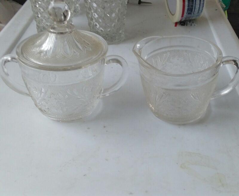 Vintage Hocking Sandwich Depression Glass Sugar w/ lid and Creamer