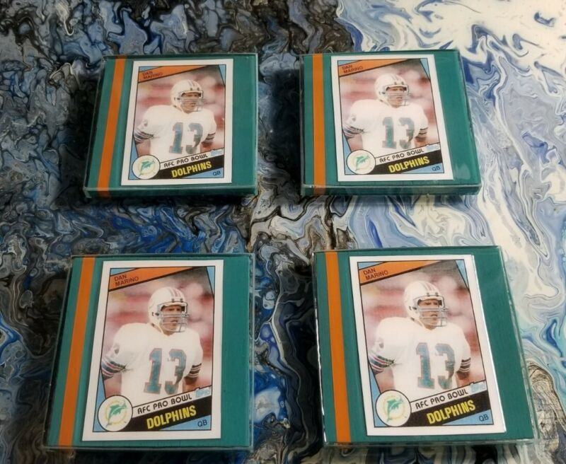Set Of 4 Drink Coasters With Dan Marino Rookie Reprint Cards Miami Dolphins