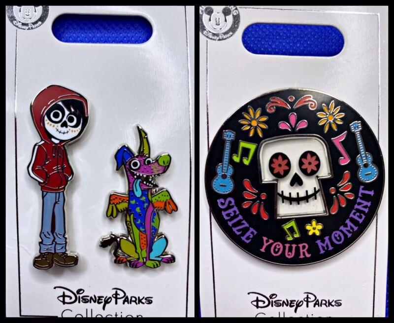 Disney Parks 3 Pin lot COCO Miguel & Dante + Calavera Skull Dia Muertos - NEW