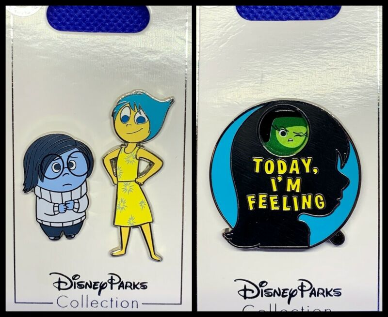 Disney Parks 3 Pin lot INSIDE OUT Joy and Sadness + spinner Today I
