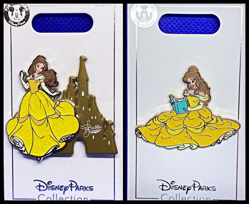 Disney Parks 2 Pin lot Beauty and the Beast Castle + Belle reading BATB - New