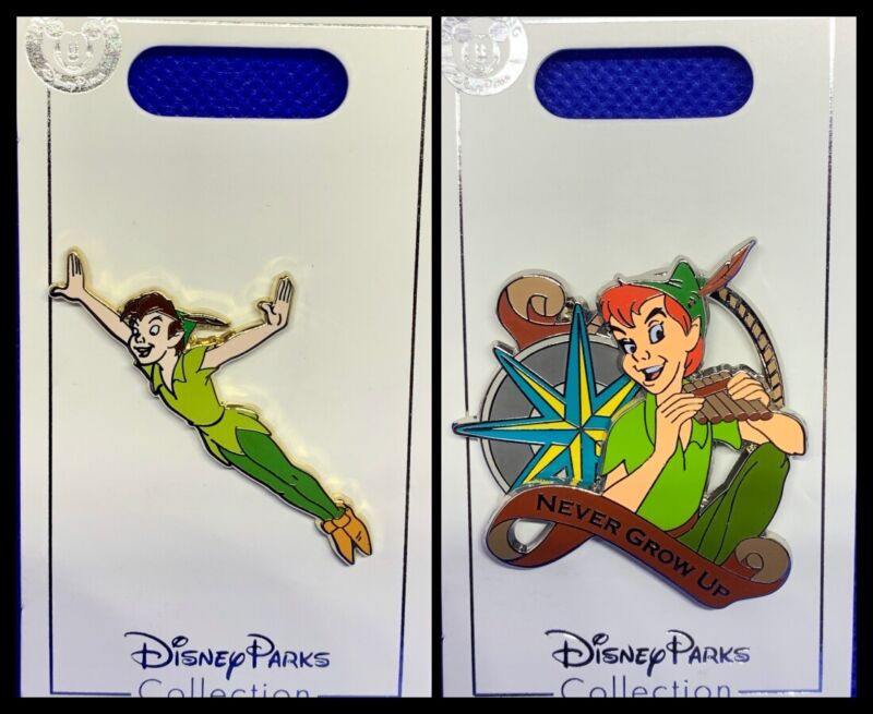 Disney Parks 2 Pin lot PETER PAN flying + Never Grow Up - NEW white cards