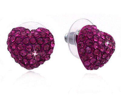 Pink Crystal Heart (Small Hot Pink Crystal Pave Heart Post Stud Earrings Valentine's Day)