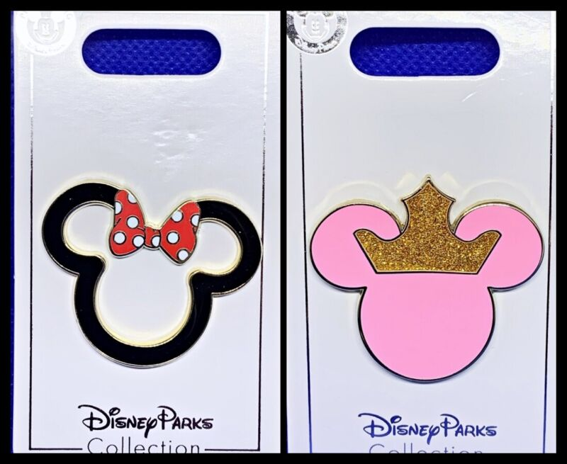 Disney Parks 2 Pin lot Minnie heads icon ears outline + Pink Sparkly Crown - New