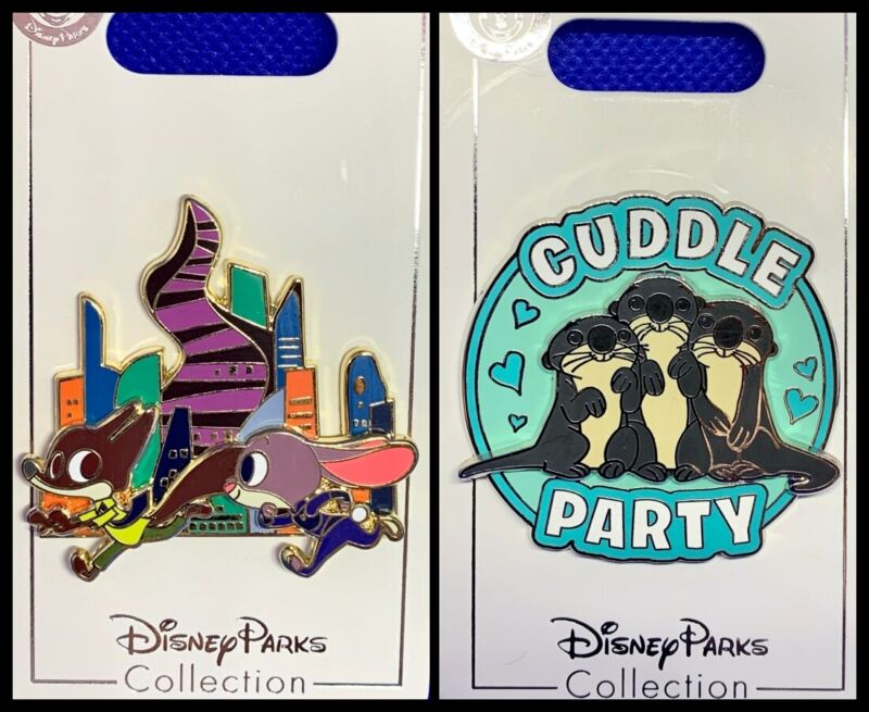 Disney Parks 2 Pin lot ZOOTOPIA Judy & Nick running + Cuddle Party - NEW