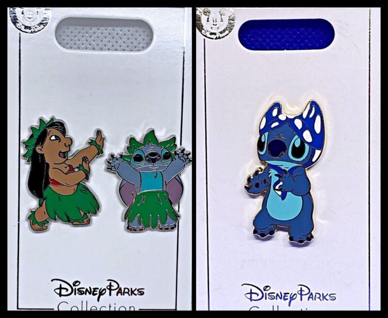 Disney Parks 2 Pin lot Lilo & Stitch hula skirts + Stitch with bra - New