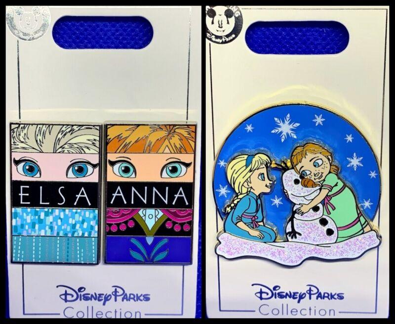 Disney Parks 3 Pin lot FROZEN Elsa & Anna eyes + Toddler sisters - NEW