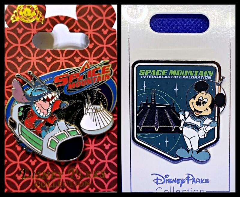 Disney Parks 2 Pin lot SPACE MOUNTAIN slider STITCH + Mickey Intergalactic - New