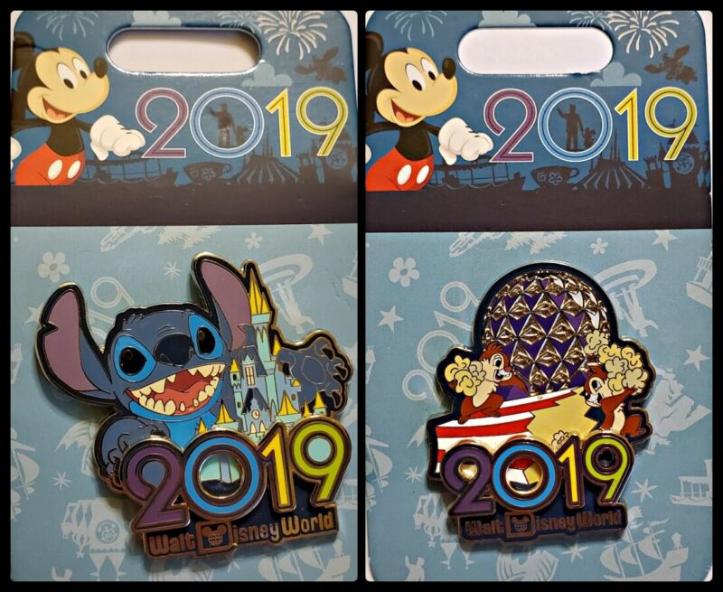 Disney Parks 2 Pin Lot 2019 WDW Stitch w/castle + Chip & Dale in Epcot