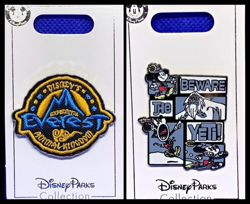 Disney Parks 2 Pin lot Animal Kingdom EVEREST + Minnie Beware the Yeti - New