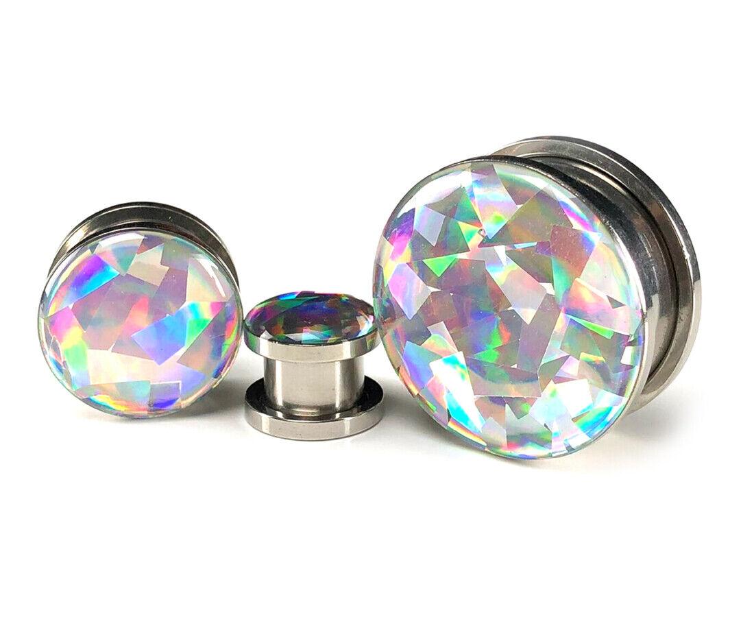 Pair of Screw on Holographic PRISM Plugs gauges 0g thru 1 in
