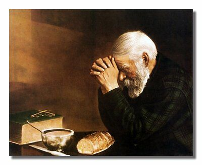 Handmade Oil Painting repro on Canvas Daily Bread Man Praying Grace 16''x20