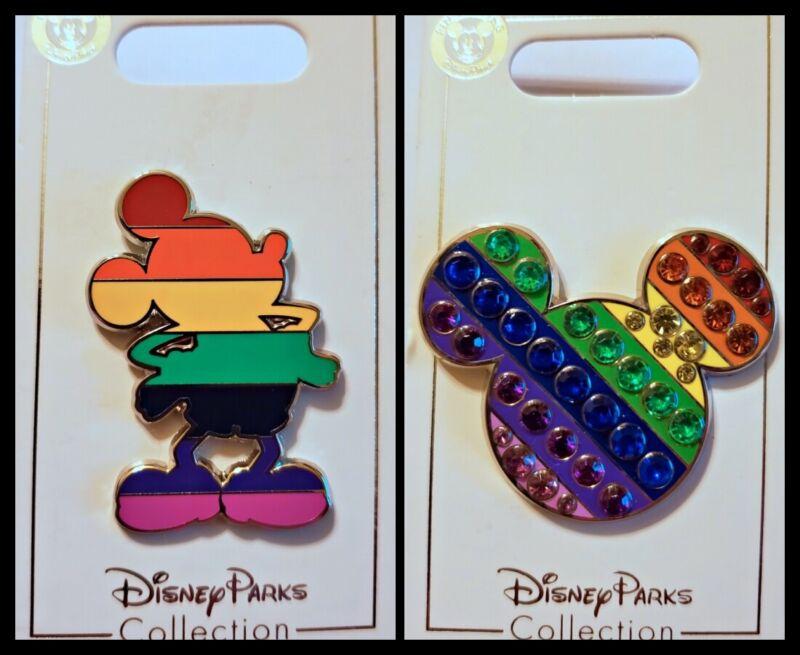 Disney Parks 2 Pin lot Rainbow Mickey + Jeweled Head Ears - New