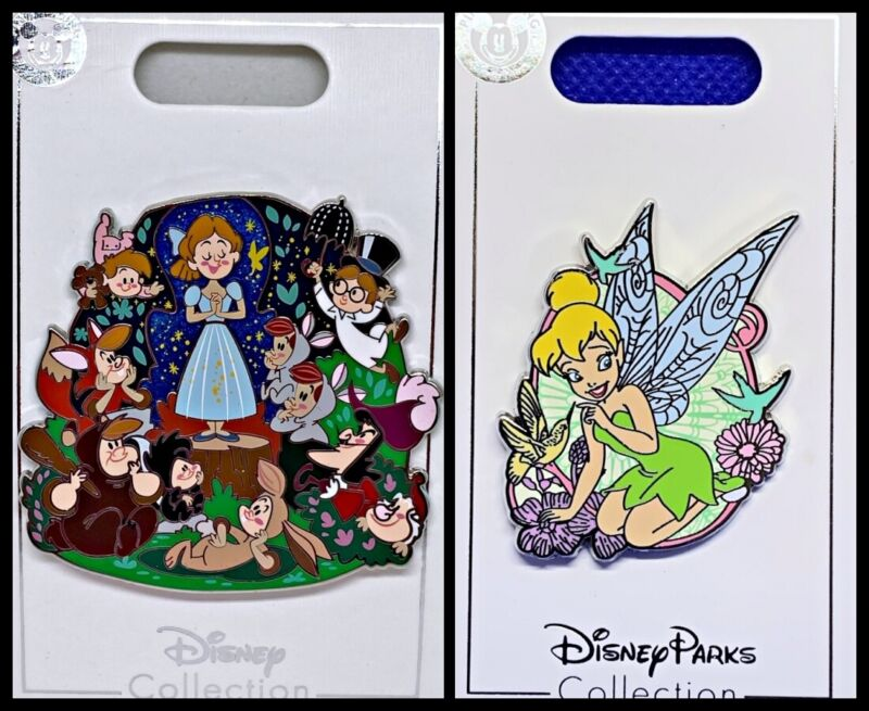 Disney Parks 2 Pin lot Peter Pan lost boys Wendy + Tinkerbell hummingbird - New